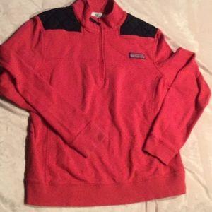 Vineyard Vines 3/4 zip Shep Shirt Berry/ Navy sz S